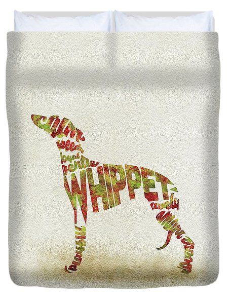 Duvet Cover featuring the painting Whippet Watercolor Painting / Typographic Art by Inspirowl Design