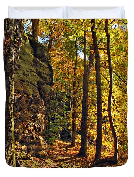 Duvet Cover featuring the photograph Whipp's Ledges In Autumn by Joan  Minchak