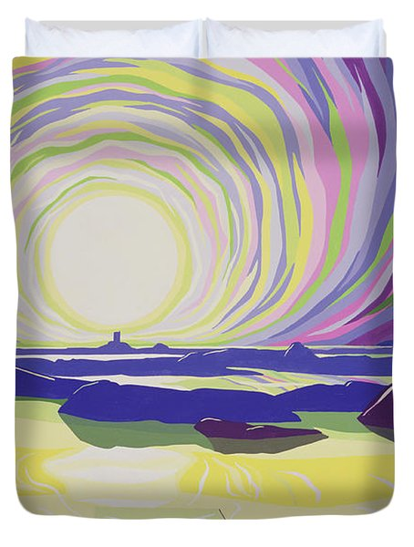 Whirling Sunrise - La Rocque Duvet Cover by Derek Crow