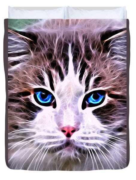 Duvet Cover featuring the digital art Whiskered One by Kathy Kelly