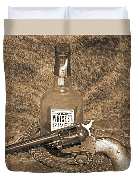 Whiskey And A Gun Duvet Cover