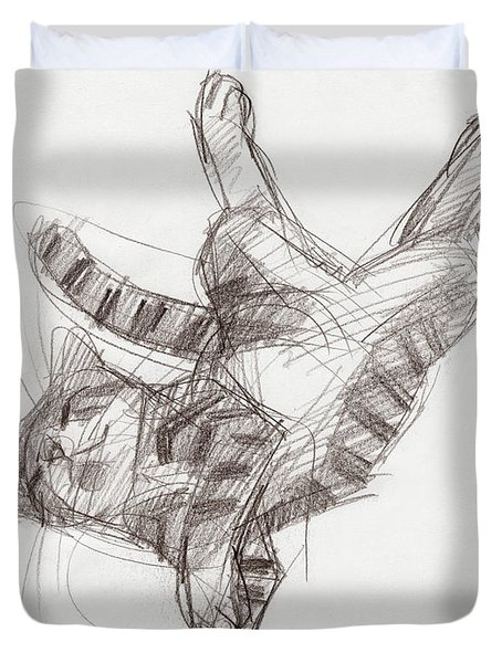 Duvet Cover featuring the drawing Yoga Cat by Judith Kunzle