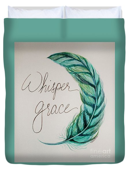 Duvet Cover featuring the painting Whisper Grace by Elizabeth Robinette Tyndall
