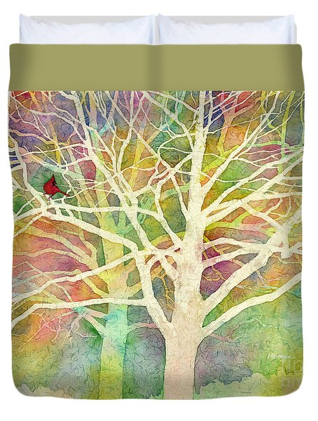 Duvet Cover featuring the painting Whisper by Hailey E Herrera