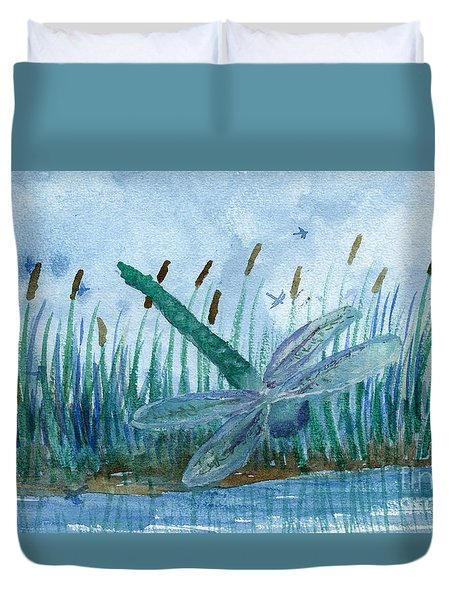 Whispering Cattails Duvet Cover
