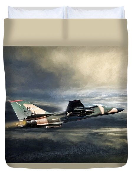 Whispering Death F-111 Duvet Cover by Peter Chilelli