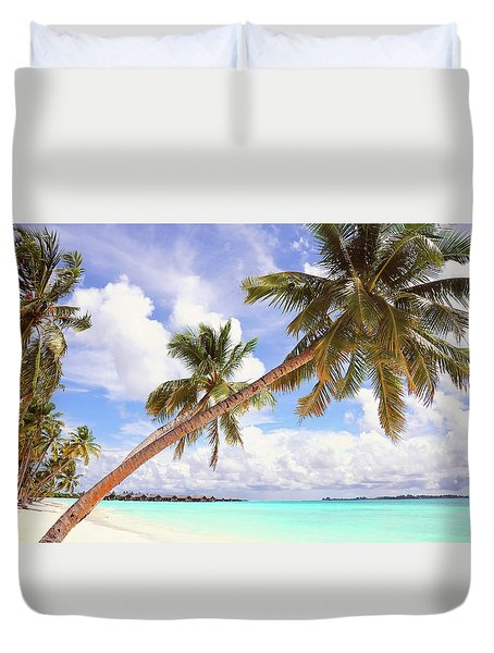 Whispering Palms. Maldives Duvet Cover