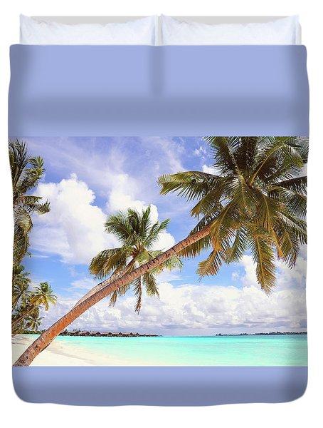 Whispering Palms. Maldives Duvet Cover