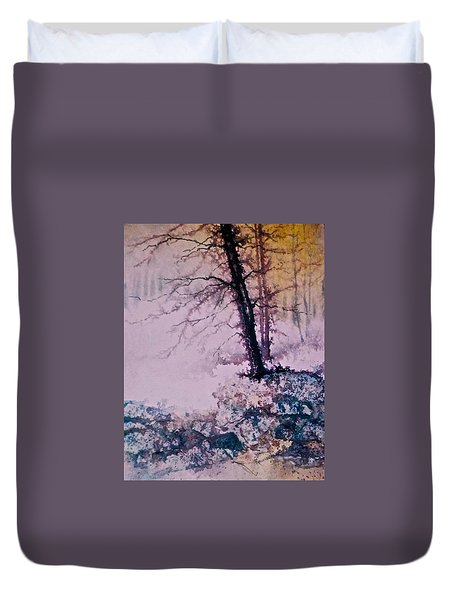 Duvet Cover featuring the painting Whispers In The Fog  Partii by Carolyn Rosenberger