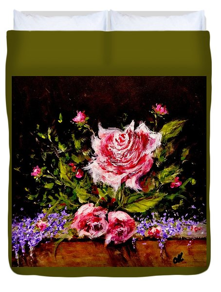 Duvet Cover featuring the painting Whispers Of Love.. by Cristina Mihailescu