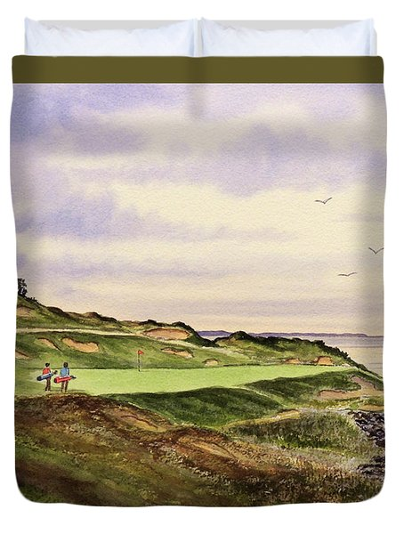 Whistling Straits Golf Course Hole 7 Duvet Cover by Bill Holkham