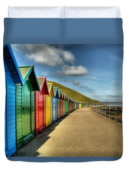 Whitby Beach Huts Duvet Cover