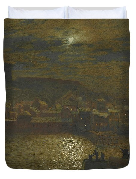 Whitby From Scotch Head Moonlight On The Esk Duvet Cover