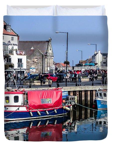 Whitby Harbor, United Kingdom Duvet Cover
