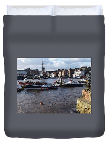 Whitby Harbour - North Yorkshire Duvet Cover