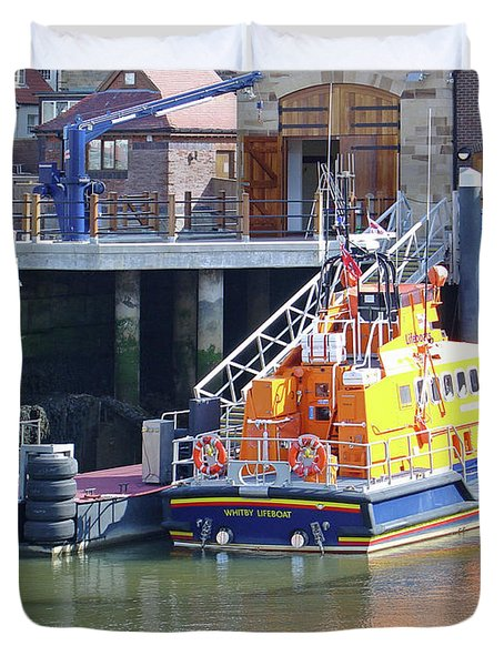 Whitby Lifeboat Duvet Cover by Rod Johnson