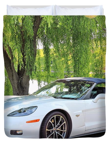White 60th Anniversary 2013 Corvette 427 Convertible  Duvet Cover