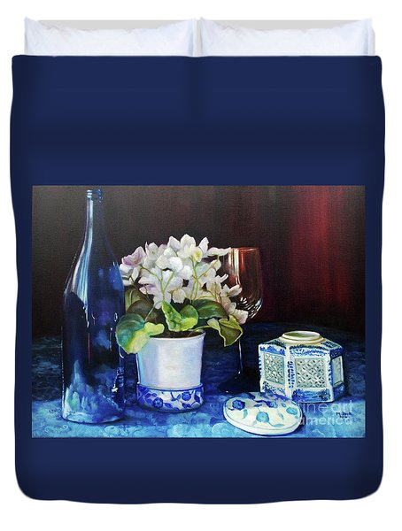 White African Violets Duvet Cover