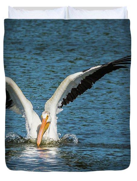 White American Pelican Duvet Cover