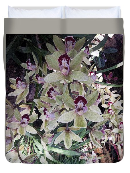 White And Lavender Orchids Duvet Cover by Don Wright