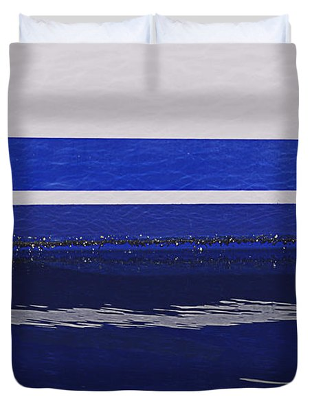 White And Blue Boat Symmetry Duvet Cover