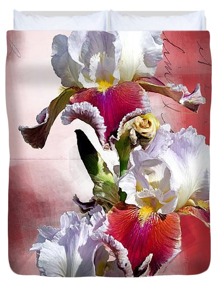 White And Burgundy Irises Duvet Cover