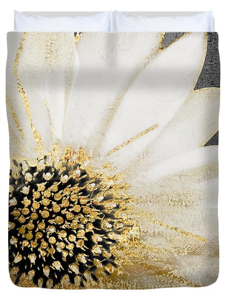 White And Gold Daisy Duvet Cover by Mindy Sommers