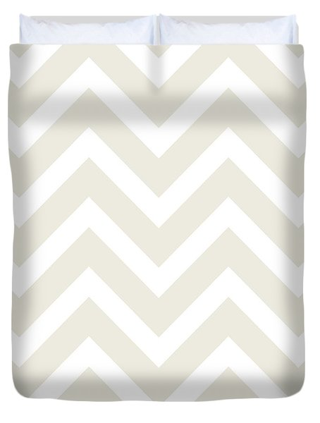 Mushroom And White Chevron Zig Zag Modern Pattern Duvet Cover by Tina Lavoie