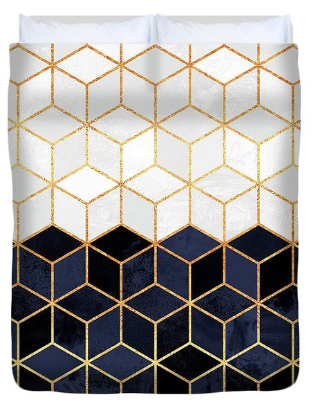White And Navy Cubes Duvet Cover