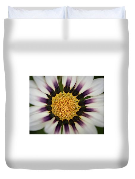 White And Purple Zinnia With Yellow Duvet Cover