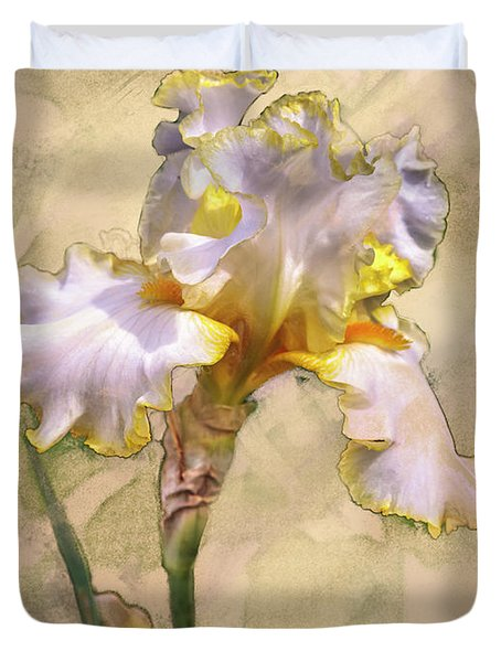 White And Yellow Iris Duvet Cover