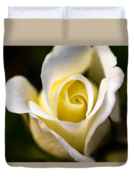 Duvet Cover featuring the photograph White And Yellow Rose by Jay Stockhaus