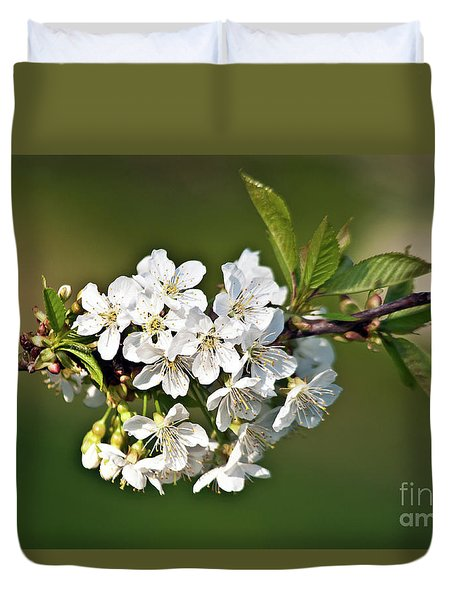 White Apple Blossoms Duvet Cover