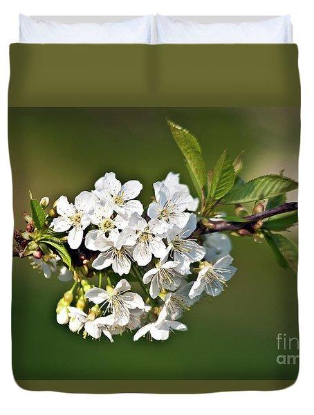 White Apple Blossoms Duvet Cover
