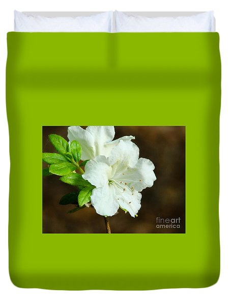 Duvet Cover featuring the photograph White Azalea  by Rand Herron