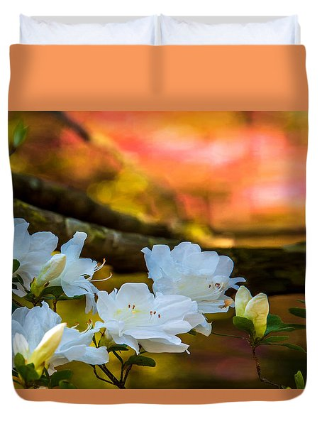 White Azaleas In The Garden Duvet Cover by John Harding