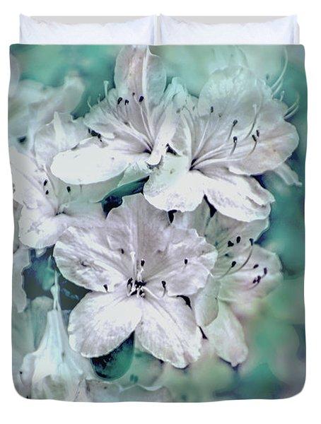 White Azaleas Duvet Cover by Sandy Moulder