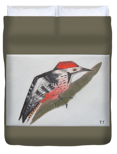 White-backed Woodpecker Duvet Cover
