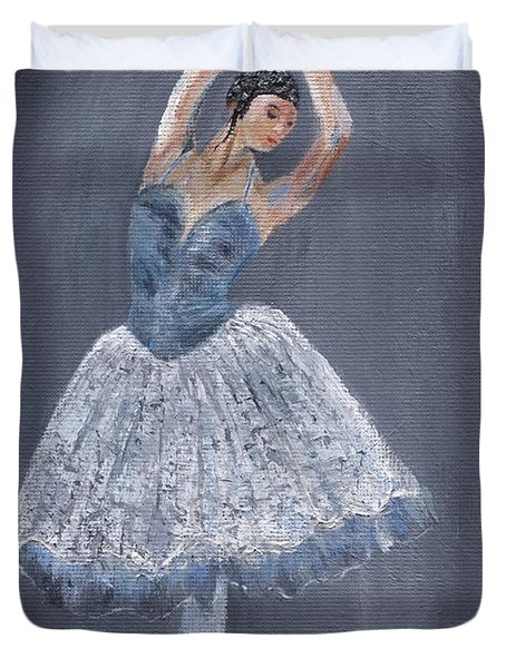 Duvet Cover featuring the painting White Ballerina by Jamie Frier