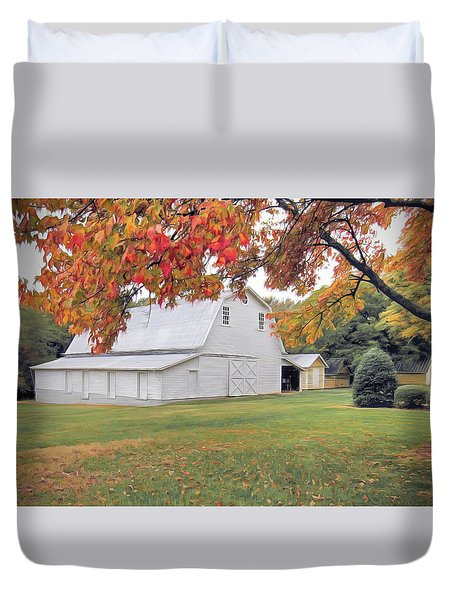 White Barn In Autumn Duvet Cover by Marion Johnson