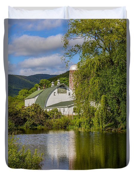 Duvet Cover featuring the photograph White Barn Reflection In Pond by Paula Porterfield-Izzo