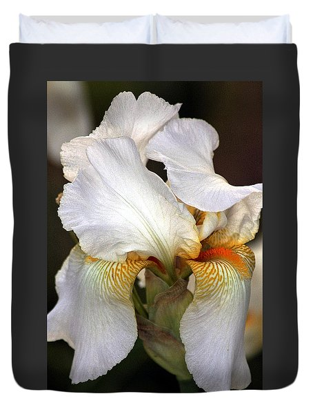 Duvet Cover featuring the photograph White Bearded Iris by Sheila Brown