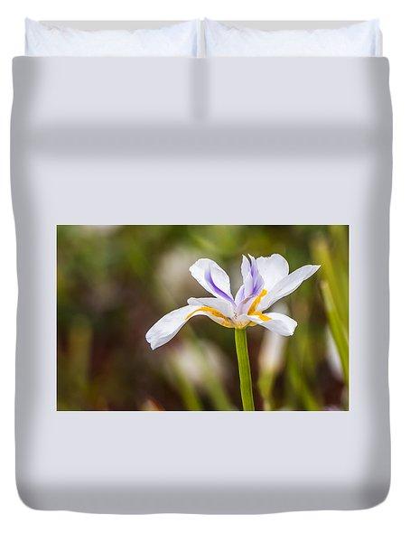 White Beardless Iris Duvet Cover