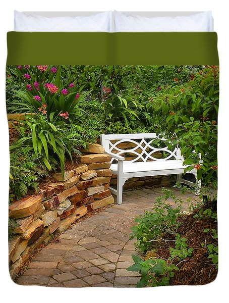 Duvet Cover featuring the photograph White Bench In The Garden by Rosalie Scanlon