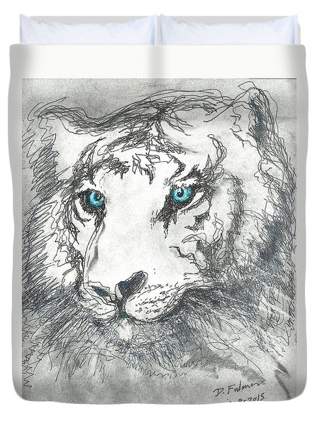 Duvet Cover featuring the drawing White Bengal Tiger by Denise Fulmer