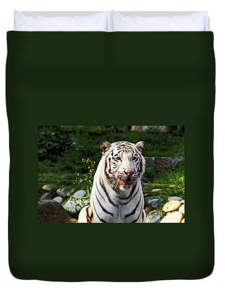 White Bengal Tiger  Duvet Cover by Garry Gay