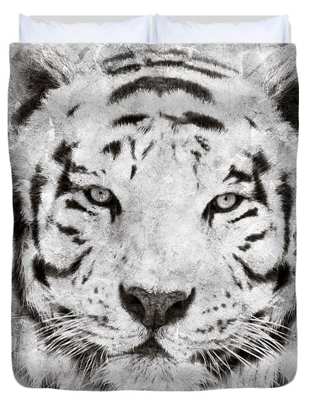 White Bengal Tiger Portrait Duvet Cover