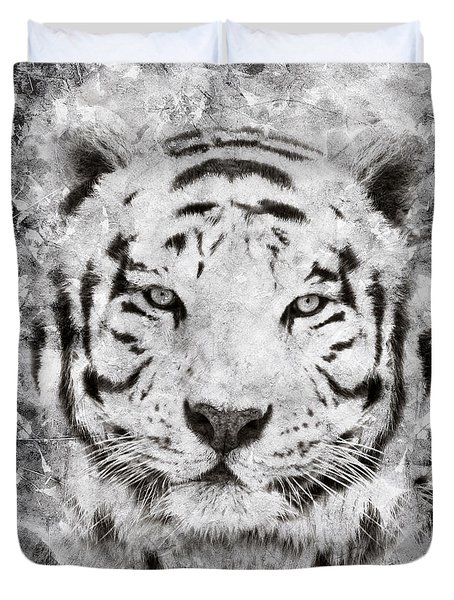 White Bengal Tiger Portrait Duvet Cover