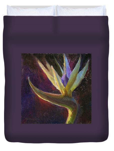 Duvet Cover featuring the painting White Bird Of Paradise -tropical Flower Painting by Karen Whitworth