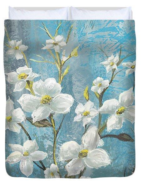 White Bloom Duvet Cover by Anthony Christou